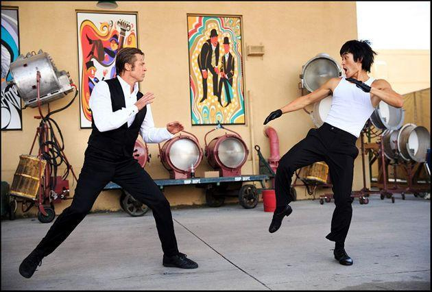 Cliff Booth (Brad Pitt) fighting Bruce Lee (Mike Moh) in Quentin Tarantino's