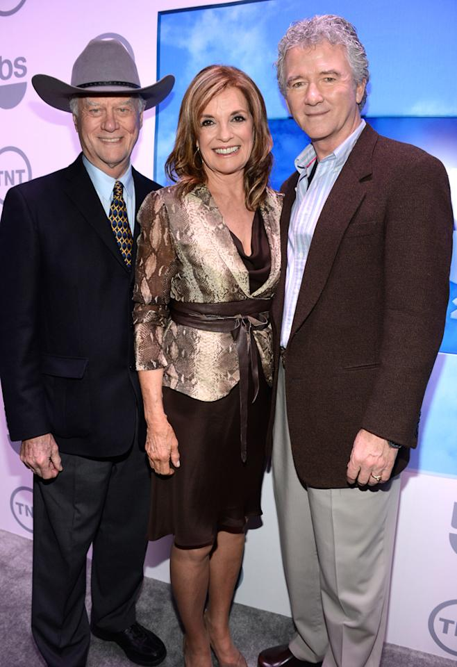 "Larry Hagman, Linda Gray, and Patrick Duffy (""Dallas"") attend the TNT/TBS 2012 Upfront Presentation at Hammerstein Ballroom on May 16, 2012 in New York City."