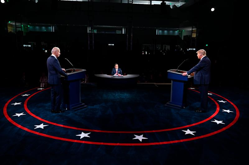 President Donald Trump and Democratic presidential candidate former Vice President Joe Biden participate in the first presidential debate Tuesday, Sept. 29, 2020, at Case Western University and Cleveland Clinic, in Cleveland, Ohio. (Olivier Douliery/Pool vi AP) ORG XMIT: OHJE305