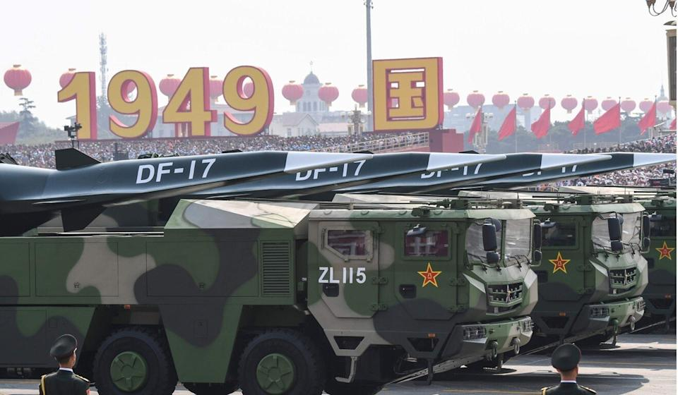 DF-17 missiles take part in a military parade in Beijing in 2019 to mark the 70th anniversary of the founding of the People's Republic of China. Photo: AFP