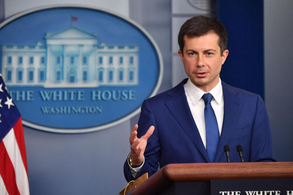 US Transportation Secretary Pete Buttigieg speaks in the Brady Briefing Room during the daily White House briefing on May 12, 2021, in Washington, DC. (Photo by Nicholas Kamm / AFP) (Photo by NICHOLAS KAMM/AFP via Getty Images)