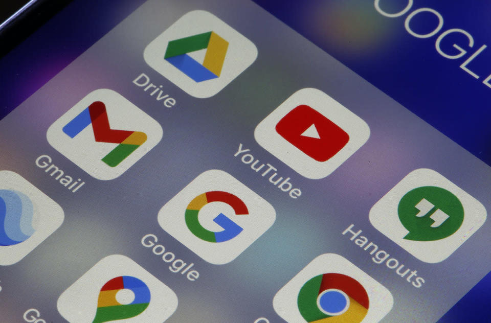 PARIS, FRANCE - DECEMBER 14: In this photo illustration, the logos of the applications, YouTube, Google Earth, Google Maps, Gmail, YouTube, Hangouts, Google, Gmail, Chrome, Drive, Google Earth, and Chrome are displayed on the screen of an iPhone on December 14, 2020 in Paris, France. A global bug has affected Google services since midday. An unprecedented incident: most Google services, including YouTube and Gmail messaging, experienced a major global outage on Monday, December 14 at midday. Google indicated on its dashboard accessible online that all its services were affected, and this for