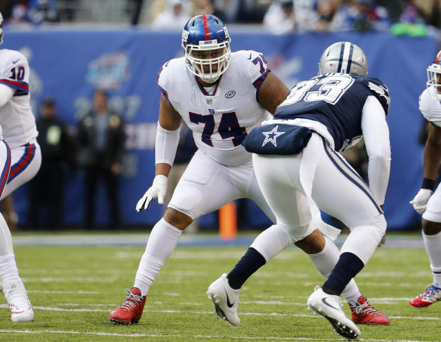New York Giants offensive tackle Ereck Flowers during an NFL football game against the Dallas Cowboys at MetLife Stadium in East Rutherford, NJ, Sunday, Dec. 10, 2017. (Winslow Townson/AP Images for Panini)