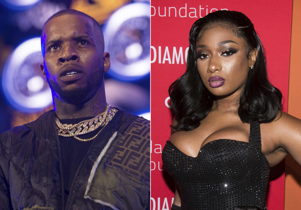 Tory Lanez performs at HOT 97 Summer Jam 2019 in East Rutherford, N.J. on June 2, 2019, left, and Megan Thee Stallion attends the 5th annual Diamond Ball benefit gala in New York on Sept. 12, 2019. Megan Thee Stallion penned an op-ed on the failure to protect Black women on the morning that rapper Lanez had his first court hearing for felony charges that he shot her. She writes in the New York Times Tuesday that she was shocked to become a victim of violence from a man on July 12. She said she at first kept quiet about being shot because she feared backlash, and that fear has been justified. Lanez, appearing by phone at his court hearing, did not enter a plea to two felony counts, and his lawyer declined comment. (Photos by Scott Roth, left, Charles Sykes/Invision/AP)