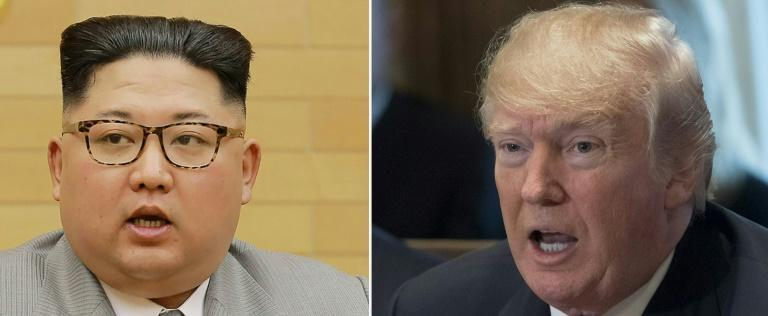 US President Donald Trump (R) was to receive a letter from North Korean leader Kim Jong Un that could set the stage for their landmark summit