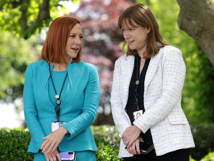White House Press Secretary Jen Psaki and Communications Director Kate Bedingfield wait for President Joe Biden to deliver remarks on 13 May, 2021 (Getty Images)