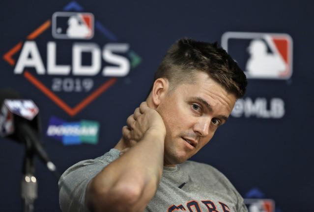 Houston Astros starting pitcher Zack Greinke answers a question during a news conference Sunday, Oct. 6, 2019, in St. Petersburg, Fla. The Astros take on the Tampa Bay Rays in Game 3 of a baseball American League Division Series on Monday. (AP Photo/Chris O'Meara)