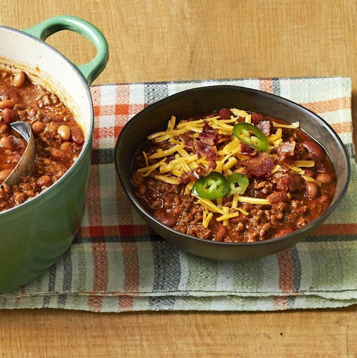 """<p>Nothing beats a big pot of chili when you want something to warm your soul. Enjoy it with fresh cornbread.</p><p><a href=""""https://www.thepioneerwoman.com/food-cooking/recipes/a34225821/beef-and-bean-chili-recipe/"""" rel=""""nofollow noopener"""" target=""""_blank"""" data-ylk=""""slk:Get the recipe."""" class=""""link rapid-noclick-resp""""><strong>Get the recipe.</strong></a></p>"""