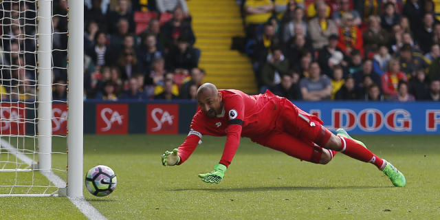 """<p>Britain Soccer Football – Watford v Sunderland – Premier League – Vicarage Road – 1/4/17 Watford's Heurelho Gomes in action Action Images via Reuters / Matthew Childs Livepic EDITORIAL USE ONLY. No use with unauthorized audio, video, data, fixture lists, club/league logos or """"live"""" services. Online in-match use limited to 45 images, no video emulation. No use in betting, games or single club/league/player publications. Please contact your account representative for further details. </p>"""