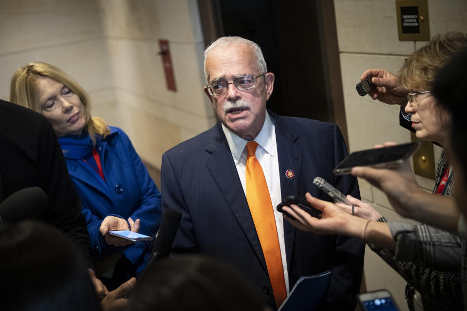 UNITED STATES - OCTOBER 30: Rep. Gerry Connolly, D-Va., talks to reporters as he leaves a closed door meeting where Catherine Croft, a State Department adviser on Ukraine, and Deputy Assistant Secretary of Defense Laura Cooper testify as part of the House impeachment inquiry into President Donald Trump on Capitol Hill on Wednesday Oct. 30, 2019. (Photo by Caroline Brehman/CQ-Roll Call, Inc via Getty Images)