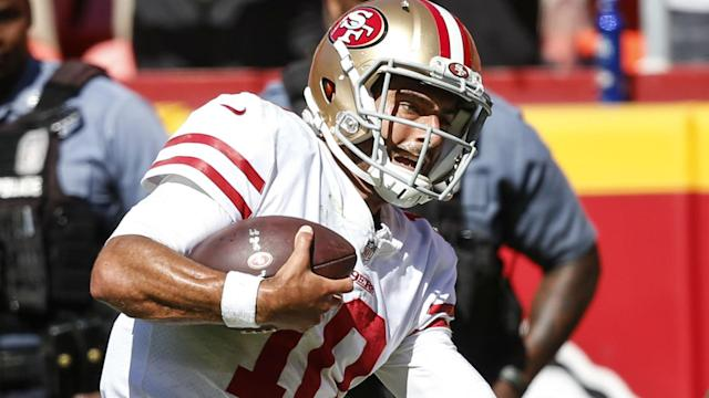 Jimmy Garoppolo's progress after a knee injury is pleasing San Francisco 49ers head coach Kyle Shanahan.