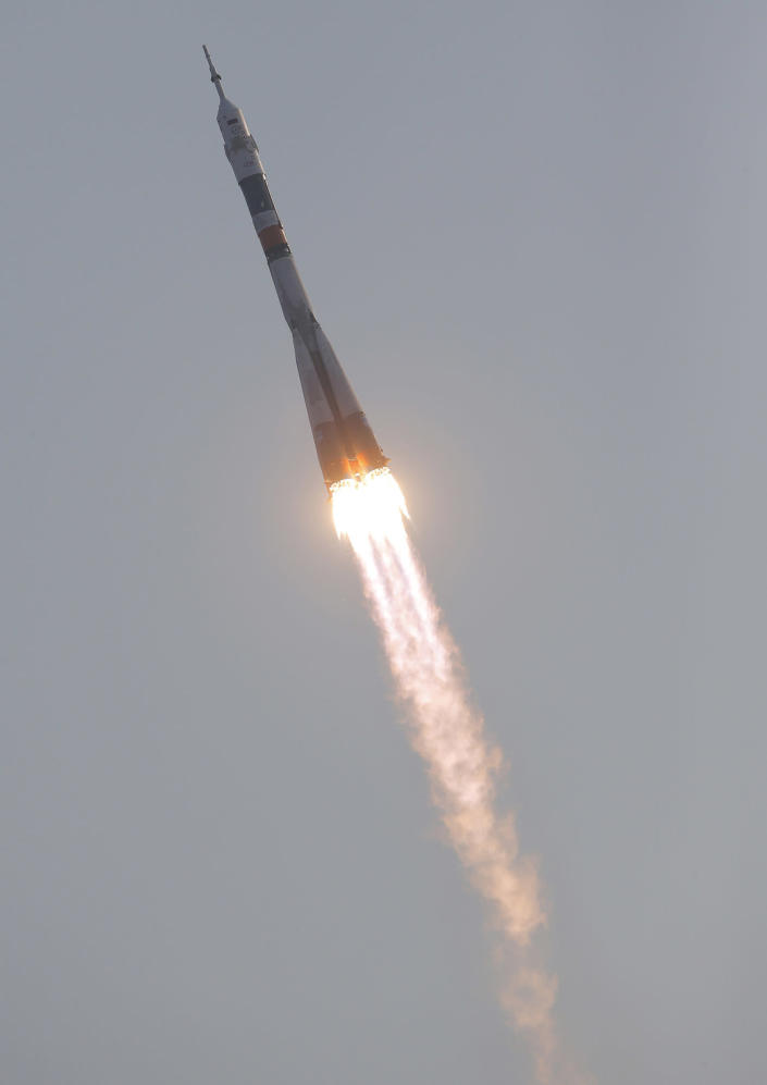 <p>The Soyuz-FG rocket booster with Soyuz MS space ship carrying a new crew to the International Space Station, ISS, flies in the sky at the Russian leased Baikonur cosmodrome, Kazakhstan, Thursday, July 7, 2016. (AP Photo/Dmitri Lovetsky) </p>