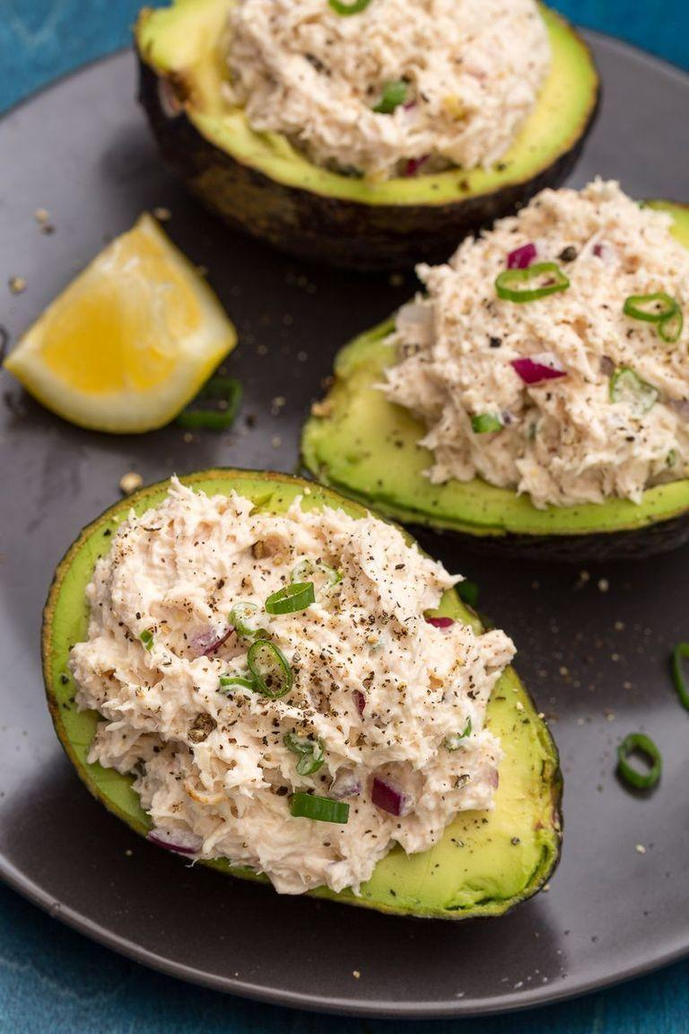 """<p>Crunchy, creamy <a href=""""https://www.delish.com/uk/cooking/recipes/a30650892/grilled-chicken-salad-recipe/"""" rel=""""nofollow noopener"""" target=""""_blank"""" data-ylk=""""slk:chicken salad"""" class=""""link rapid-noclick-resp"""">chicken salad</a> turns these avos into a protein-packed meal.</p><p>Get the <a href=""""https://www.delish.com/uk/cooking/recipes/a33559395/chicken-salad-stuffed-avocado-recipes/"""" rel=""""nofollow noopener"""" target=""""_blank"""" data-ylk=""""slk:Chicken Salad Stuffed Avocados"""" class=""""link rapid-noclick-resp"""">Chicken Salad Stuffed Avocados</a> recipe.</p>"""