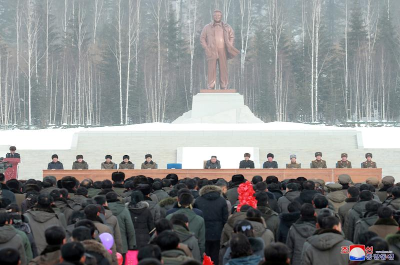 North Korean leader Kim Jong Un attends a ceremony at the township of Samjiyon County, North Korea, in this undated picture released by North Korea's Central News Agency (KCNA) on December 2, 2019. KCNA via REUTERS – THIS IMAGE WAS PROVIDED BY A THIRD PARTY. REUTERS IS UNABLE TO INDEPENDENTLY VERIFY THIS IMAGE.