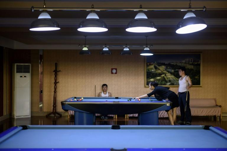 People play pool at a leisure centre in Pyongyang