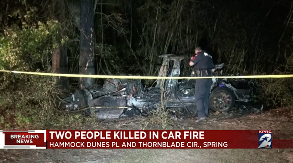 The car's batteries kept reigniting, making it difficult for fire crews to extinguish the blaze, officials say.