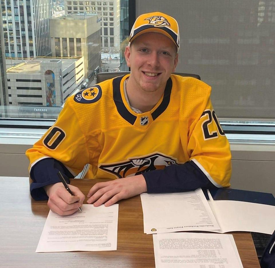Predators prospect Luke Prokop became the first player under NHL contract to come out as gay Monday.