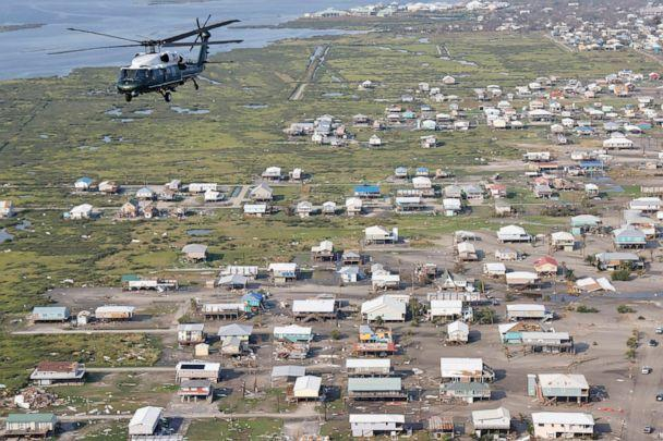 PHOTO: President Joe Biden, aboard the Marine One helicopter, inspects the damage from Hurricane Ida on an aerial tour of communities in Laffite, Grand Isle, Port Fourchon and Lafourche Parish, La,, Sept. 3, 2021. (Jonathan Ernst/POOL/AFP via Getty Images, FILE)
