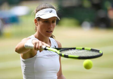 Tennis - Wimbledon - London, Britain - July 13, 2017 Great Britain's Johanna Konta during her semi final match against Venus Williams of the U.S. REUTERS/Tony O'Brien