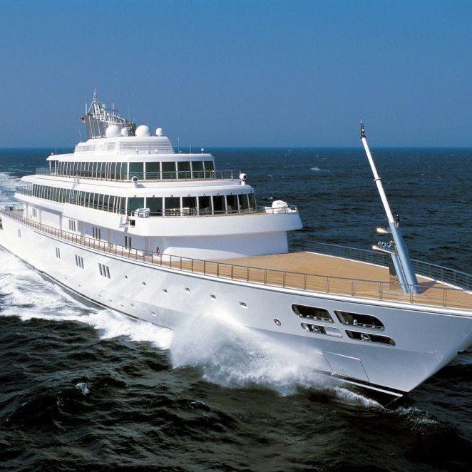 """<p>This stunner belongs to billionaire and entertainment mogul David Geffen and has likely<a href=""""https://www.instagram.com/davidgeffen/"""" rel=""""nofollow noopener"""" target=""""_blank"""" data-ylk=""""slk:hosted a favorite celebrity (or 10) of yours"""" class=""""link rapid-noclick-resp""""> hosted a favorite celebrity (or 10) of yours </a>over the past few years—even the Obamas. Complete with a gym, sauna, pool, and underwater lights, what more could you ask for in a party venue? This Lurssen yacht holds 18 guests overnight and up to 45 crew. </p>"""