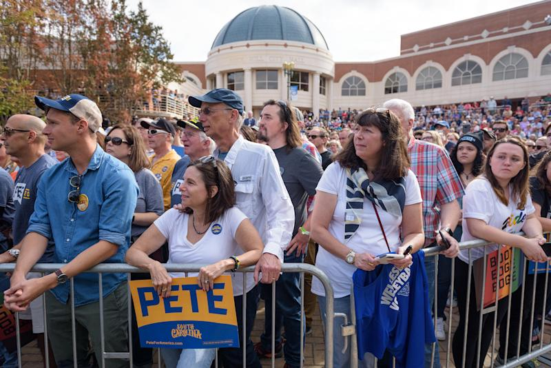 Attendees wait for Mayor Pete Buttigieg of South Bend, Ind., a Democratic presidential hopeful, to arrive at a campaign event in Rock Hill, S.C., on Oct. 26, 2019. | Bryan Cereijo—The New York Times/Redux