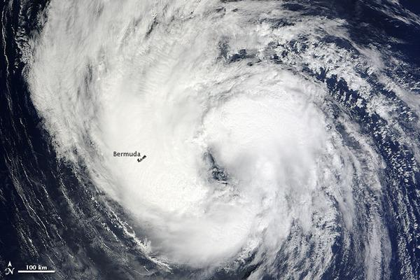 A NASA satellite caught this image of Tropical Storm Leslie as it passed over Bermuda on Sept. 9, 2012.