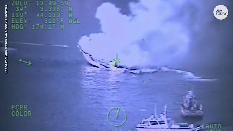 The Coast Guard released helicopter footage of the California boat fire that killed dozens of people.
