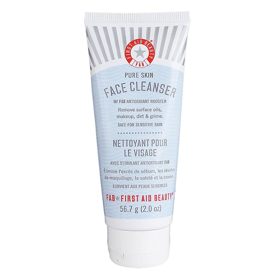 """<p>First Aid Beauty's Pure Skin Face Cleanser is chock full of antioxidants that help to balance your skin's natural pH level and aloe to calm and soothe. """"This creamy, gentle cleanser also has glycerin, a potent humectant that pulls water into the skin,"""" notes Hirsch, who says it gets your face really <em>and</em> really soft.</p> <p><strong>$21</strong> (<a href=""""https://www.amazon.com/First-Aid-Beauty-Cleanser-Ounce/dp/B002RW9C3A"""" rel=""""nofollow noopener"""" target=""""_blank"""" data-ylk=""""slk:Shop Now"""" class=""""link rapid-noclick-resp"""">Shop Now</a>)</p>"""