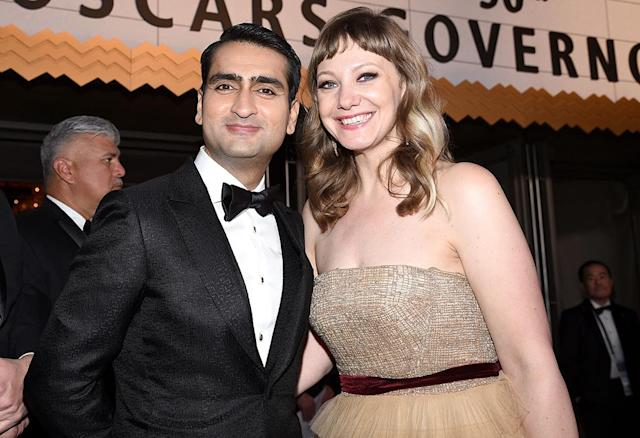 <p>The <em>Big Sick</em> duo toasted their nomination at the Governors Ball. (Photo: Kevork Djansezian/Getty Images) </p>