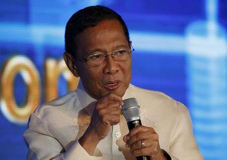 Vice President Jejomar Binay, one of the four contenders in 2016 presidential elections speaks during a business forum in Pasay