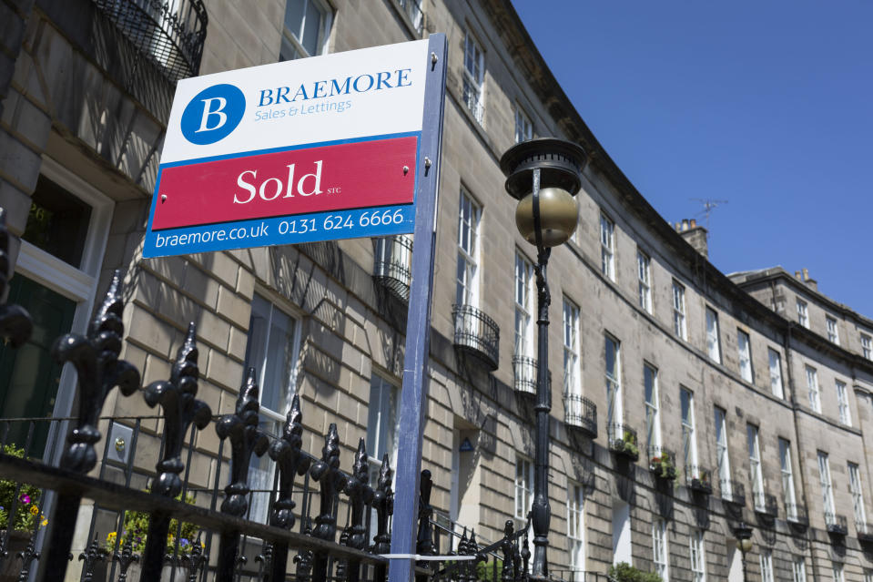 A Sold sign outside a property on Royal Circus in Edinburgh, on 26th June 2019, in Edinburgh, Scotland. (Photo by Richard Baker / In Pictures via Getty Images Images)