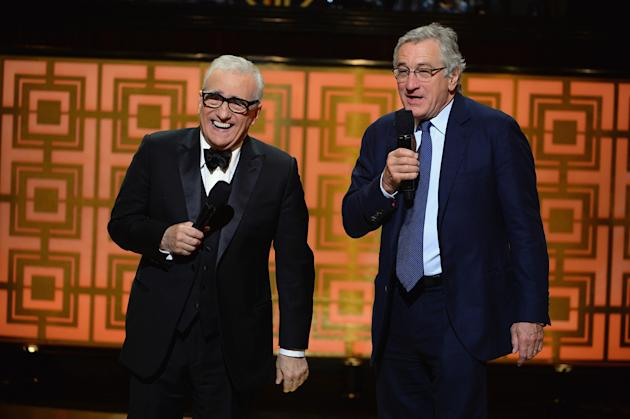"NEW YORK, NY - MAY 06: Director Martin Scorsese and actor Robert De Niro speak onstage at Spike TV's ""Don Rickles: One Night Only"" on May 6, 2014 in New York City. (Photo by Theo Wargo/Getty Images for Spike TV)"