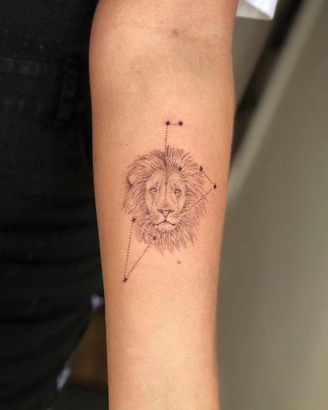 """<p>Combine a constellation with a lion, and you'll end up with this super-cute Leo <a href=""""https://www.cosmopolitan.com/style-beauty/beauty/g27556263/ankle-tattoos-ideas-designs/"""" rel=""""nofollow noopener"""" target=""""_blank"""" data-ylk=""""slk:tattoo"""" class=""""link rapid-noclick-resp"""">tattoo</a> <strong>that'll catch everyone's eye.</strong></p><p><a href=""""https://www.instagram.com/p/Bq5li3xlRLz/"""" rel=""""nofollow noopener"""" target=""""_blank"""" data-ylk=""""slk:See the original post on Instagram"""" class=""""link rapid-noclick-resp"""">See the original post on Instagram</a></p>"""