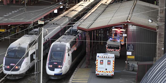 Ambulances stand by to load patients affected with coronavirus (Covid-19) aboard a medicalized TGV (high-speed train) in Strasbourg, France on March 26, 2020.