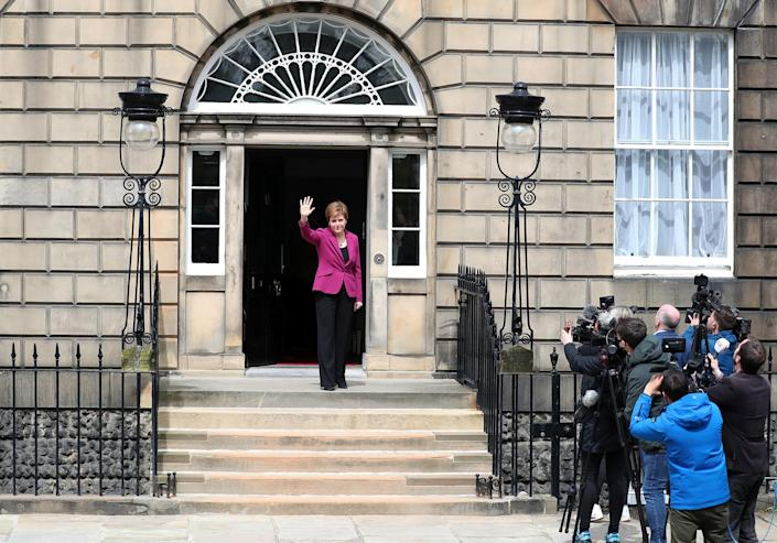 """Scotland's First Minister and Scottish National Party leader Nicola Sturgeon poses for photographers at Bute House in Edinburgh on May 9. Sturgeon said the election results proved a second independence vote for Scotland was """"the will of the country."""""""