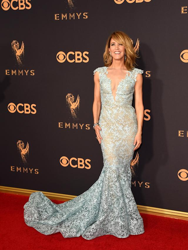 <p>Huffman was like a mermaid out of water in a aqua gown from Tony Ward. (Photo: Getty Images) </p>