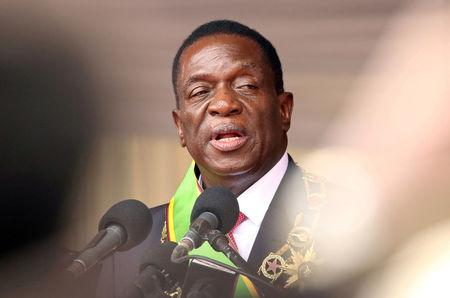 FILE PHOTO: Emmerson Mnangagwa speaks after being sworn in as Zimbabwe's president in Harare, Zimbabwe, November 24, 2017. REUTERS/Philimon Bulawayo/File Photo
