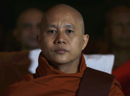 Buddhist monk Ashin Wirathu, leader of the 969 movement, looks on as he attends a convention held by the Bodu Bala Sena (Buddhist Power Force, BBS) in Colombo September 28, 2014.    REUTERS/Dinuka Liyanawatte