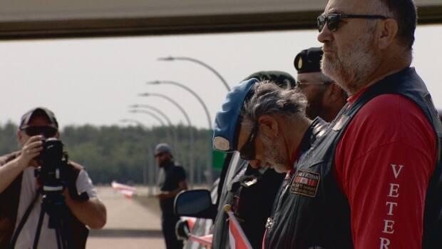 The documentary recreated Ontario's Highway of Heroes with actors on stretches of Anthony Henday Drive. (John Shypitka/CBC - image credit)