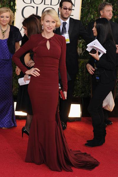 Naomi Watts: The Aussie is always elegant and fashion-forward and this time is no different in a burgundy Zac Posen. 'The Impossible' star is sutble sexy with a keyhole cutout at the best, flowing double train and long sleeves. (Photo by Steve Granitz/WireImage)