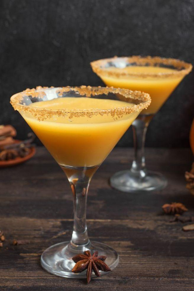"""<p>No fall cocktail list is complete without a signature pumpkin martini made with vodka (or whiskey!). Serve this decadent dessert drink with style and garnish with a sugared rim for an enticing accent.<br><br><em><a href=""""https://www.goodhousekeeping.com/food-recipes/a34097488/pumpkin-martini-recipe/"""" rel=""""nofollow noopener"""" target=""""_blank"""" data-ylk=""""slk:Get the recipe for Pumpkin Martini »"""" class=""""link rapid-noclick-resp"""">Get the recipe for Pumpkin Martini »</a></em><br></p>"""