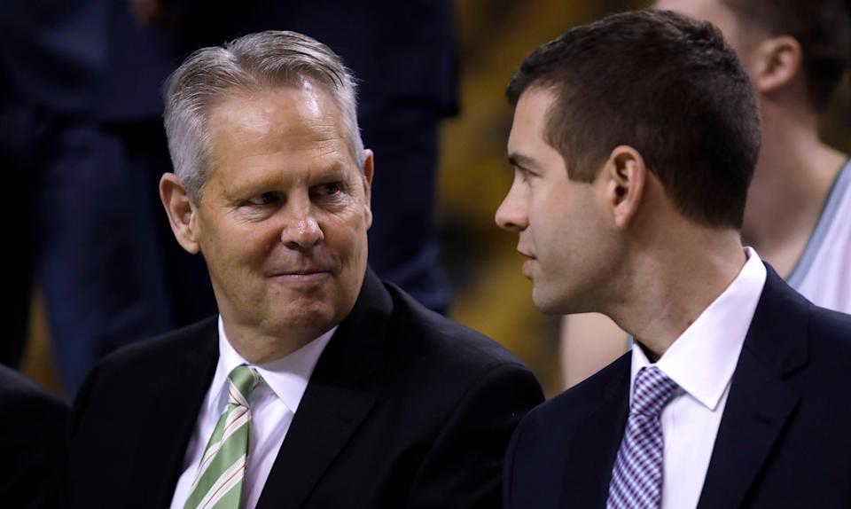 Brad Stevens (right) moved from being Celtics coach to the front office, replacing Danny Ainge.