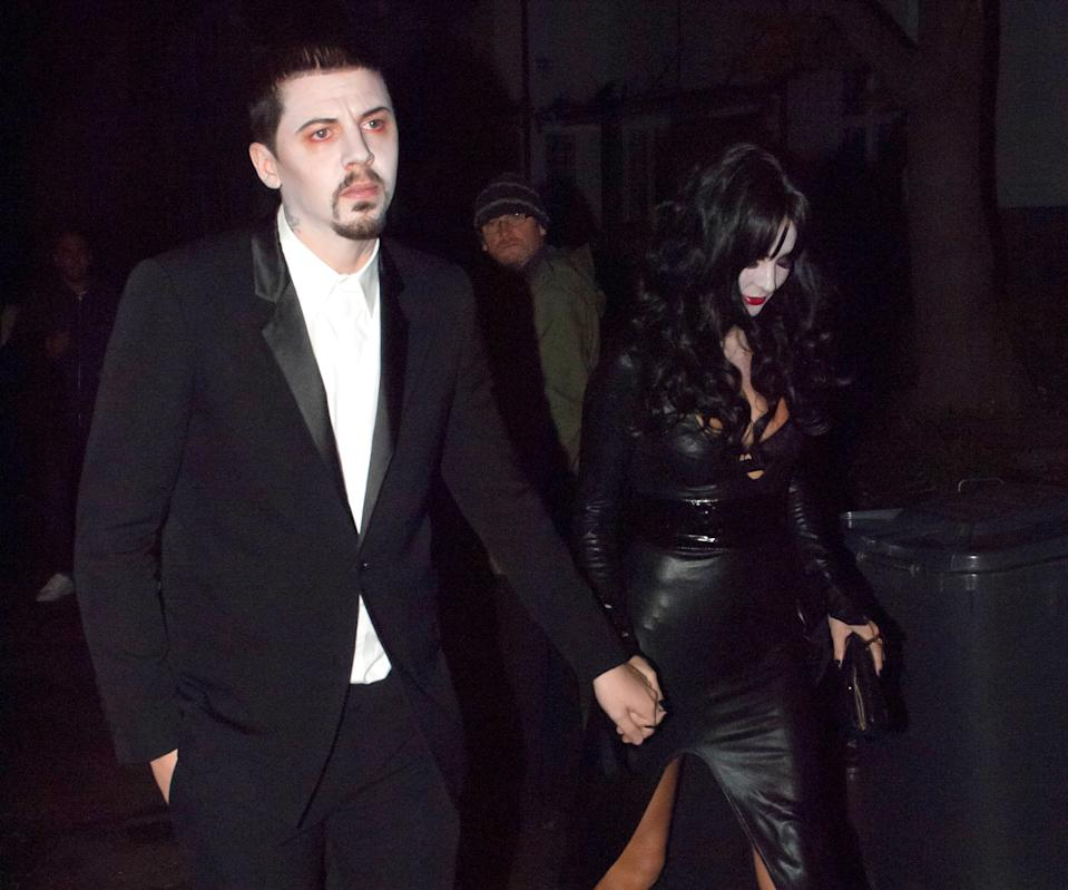 LONDON, UNITED KINGDOM - OCTOBER 31: Professor Green and Millie Mackintosh are sighted arriving at Jonathan Ross' Halloween Party in Hampstead on October 31, 2013 in London, England. (Photo by Niki Nikolova/FilmMagic)