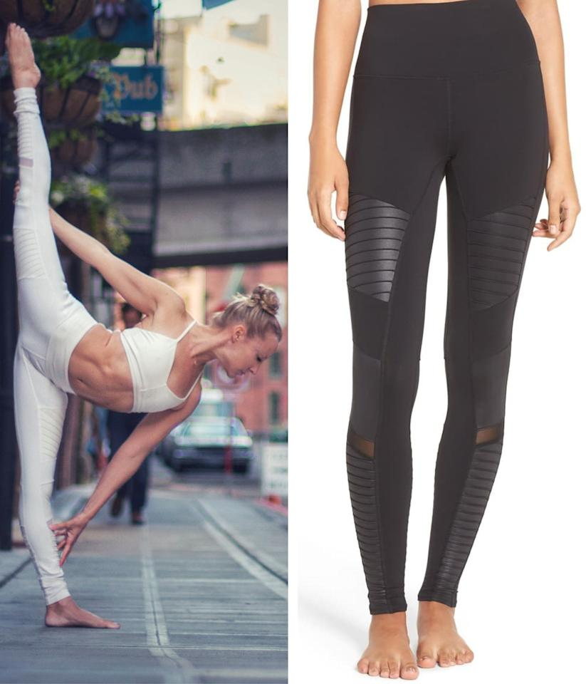 """Certified yoga instructor and acroyoga teacher from Seattle, <a href=""""https://www.instagram.com/robinmartinyoga/?hl=en"""" rel=""""nofollow"""" target=""""_blank"""">Robin Martin</a> swears by one particular brand. """"My favorite legging brand is Alo and the style is the <a href=""""https://shop.nordstrom.com/s/alo-high-waist-moto-leggings/4409532/lite?siteid=3r4YdkDiq_o-SMrCGstHI5e3EsqQHFq05A&utm_source=rakuten&utm_medium=affiliate&utm_campaign=3r4YdkDiq/o&utm_content=1&utm_term=729223&utm_channel=affiliate_ret_p&sp_source=rakuten&sp_campaign=3r4YdkDiq/o"""" rel=""""nofollow"""" target=""""_blank"""">High Waist Moto</a>,"""" she says. They're the international instructor's must-have because """"they're extremely well made, come in so many beautiful colors and are very flattering. The high waist is soft so no muffin top!"""" The style is versatile, too. """"I love that they go right from studio to street."""" $114, Nordstrom. <a href=""""https://shop.nordstrom.com/s/alo-high-waist-moto-leggings/4409532/lite"""">Get it now!</a>"""