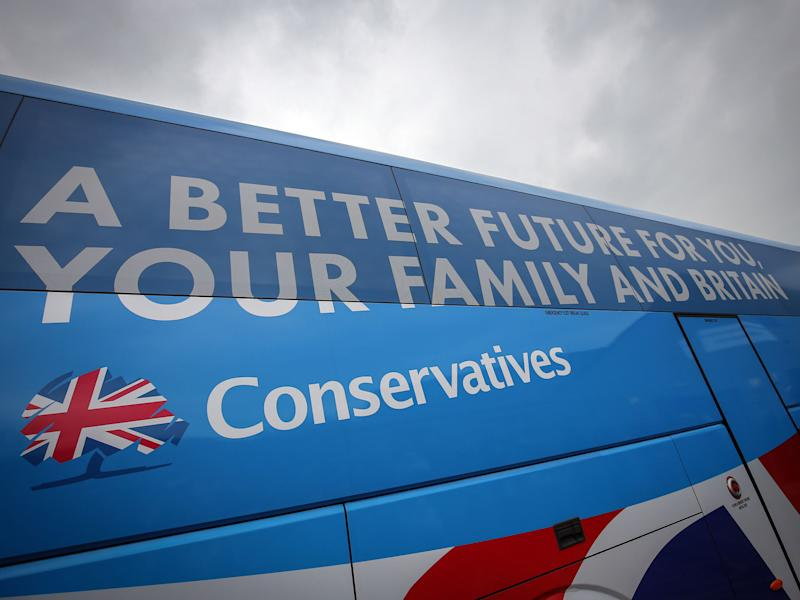 The 'Battlebus 2015' tour saw Tory activists driven to 29 marginal seats in the days before the general election. Expenses for this may have been improperly registered: Getty