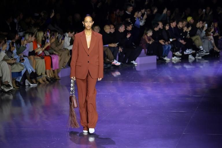 A model presents a creation for Hugo Boss' Women Fall - Winter 2020 fashion collection in Milan