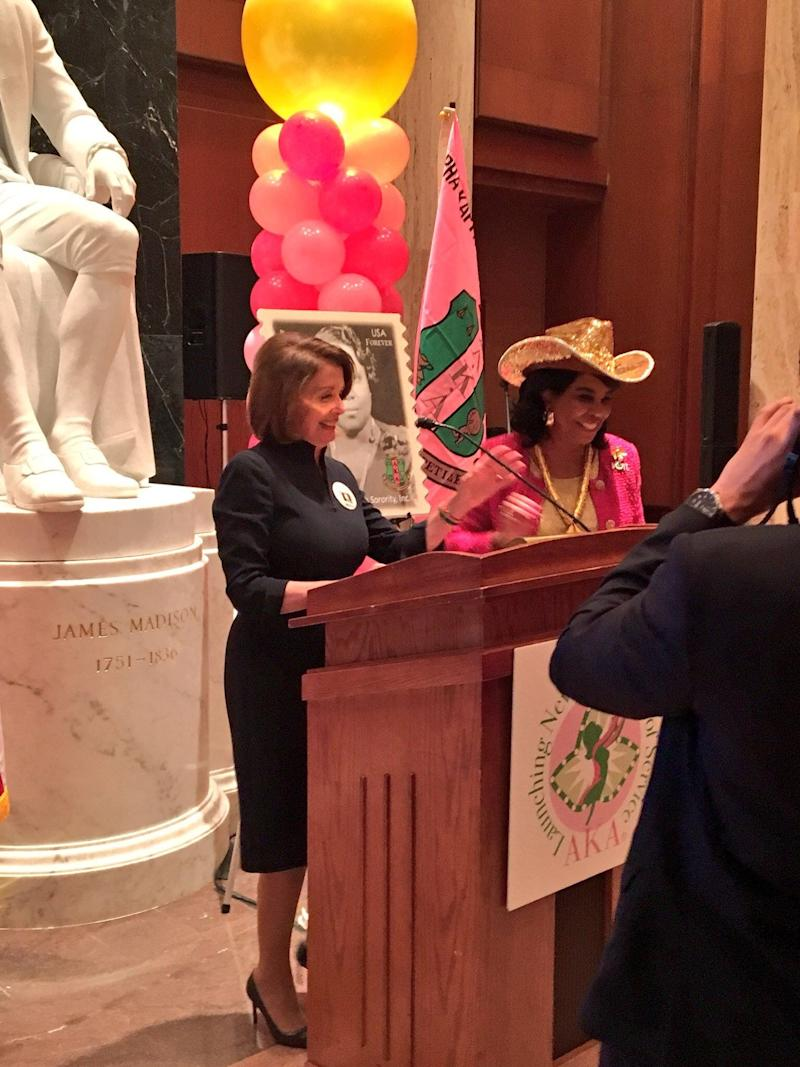 Then-House Minority Leader Nancy Pelosi and Rep. Frederica Wilson, D-Fla., at the Library of Congress on Feb. 15, 2018, in Washington, D.C.