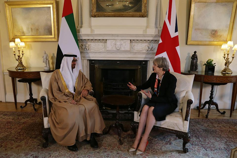British prime minister Theresa May speaks with the Crown Prince of Abu Dhabi, Sheikh Mohamed bin Zayed Al Nahyan, during a meeting in London in 2017. Photo: Daniel Leal-Olivas/Getty Images