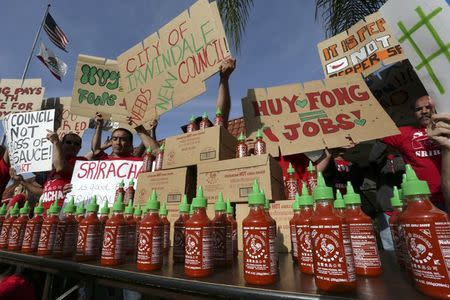 Supporters of Sriracha hot sauce attend a rally at Irwindale City Hall, in Irwindale, California