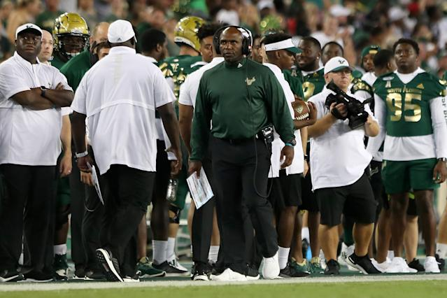 Charlie Strong and USF have lost seven straight games. (Photo by Cliff Welch/Icon Sportswire via Getty Images)